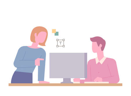 Two people are talking at an office desk. The boss is giving instructions. flat design style minimal vector illustration.