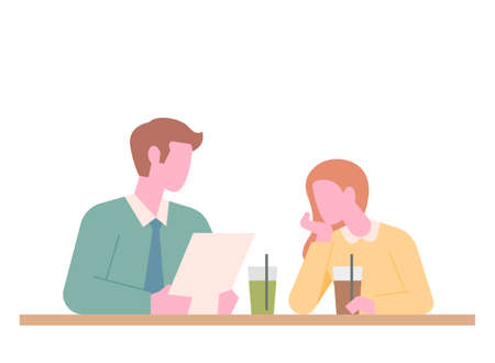 Two people are sitting at a cafe table. One is worried and the other is listening. flat design style minimal vector illustration. 일러스트