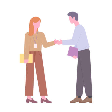Two business people meet and shake hands. flat design style minimal vector illustration. 일러스트