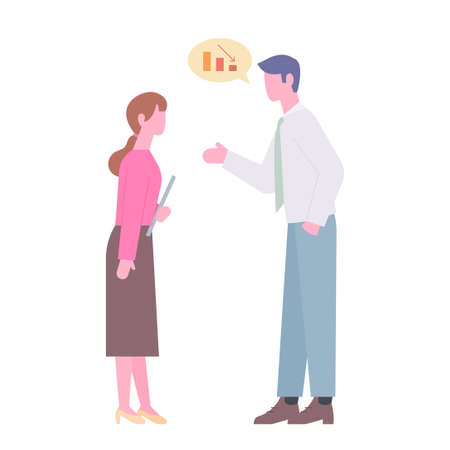Two business people are meeting and having a conversation. flat design style minimal vector illustration. 스톡 콘텐츠 - 166045138