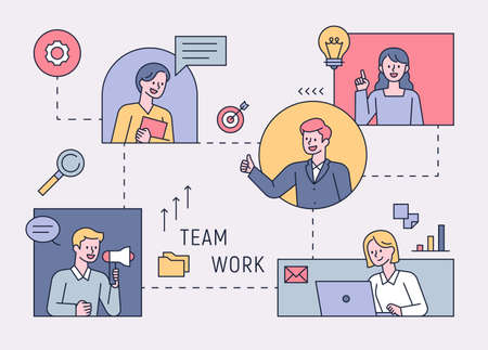 Business people connected to each other through a network and working as a team. flat design style minimal vector illustration.
