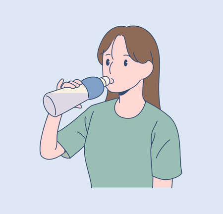 A woman is drinking water from a water bottle. hand drawn style vector design illustrations.