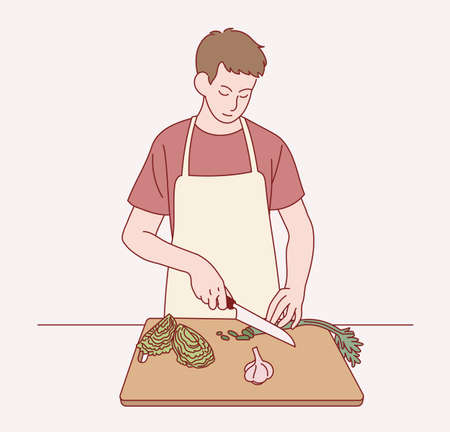 A boy is wearing an apron and cutting vegetables. hand drawn style vector design illustrations. 일러스트