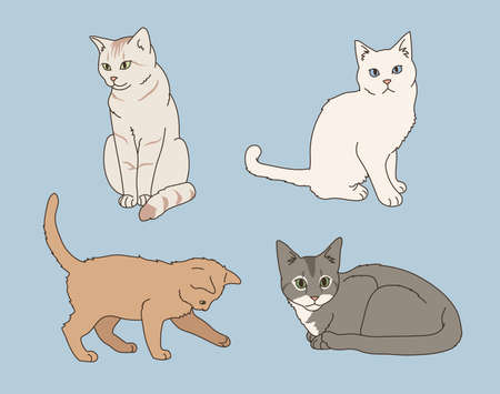 Cute cat collection. hand drawn style vector design illustrations.