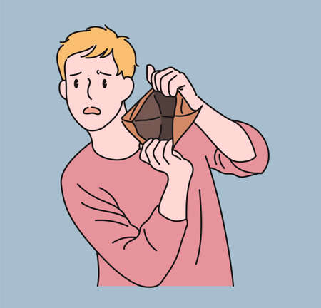 A man shows an empty wallet and makes a sad expression. hand drawn style vector design illustrations.