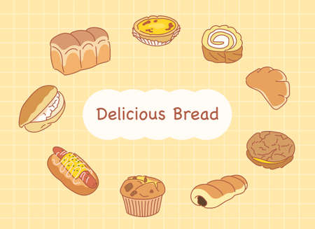 Delicious breads. hand drawn style vector design illustrations. Vetores