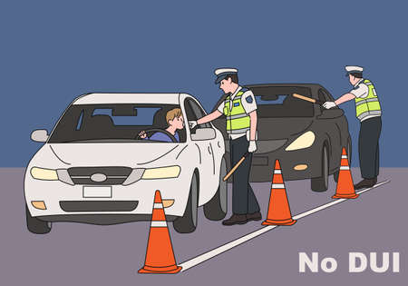 Traffic police are cracking down on drinking. hand drawn style vector design illustrations. Vetores