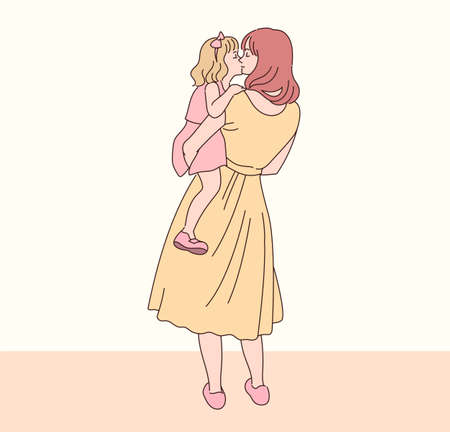 The mother is hugging her daughter tenderly. hand drawn style vector design illustrations.