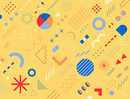 Retro-style design consisting of various shapes and patterns. yellow background. Simple pattern design template.