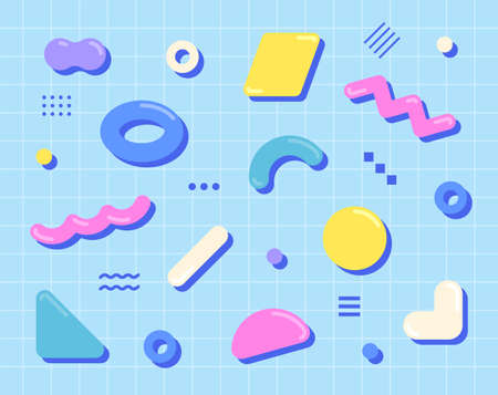 Cute shapes are scattered on the blue grid. Simple pattern design template.