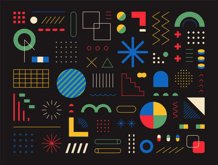 Retro-style design consisting of various shapes and patterns. black background. Simple pattern design template.