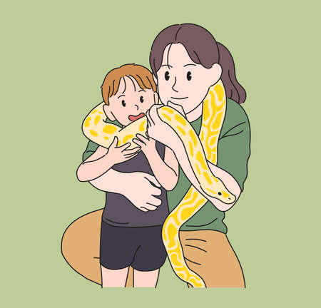 Mother and child are experiencing pythons around their necks. hand drawn style vector design illustrations.