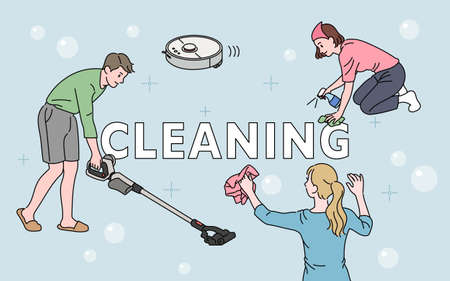 People who clean with various cleaning tools. hand drawn style vector design illustrations.