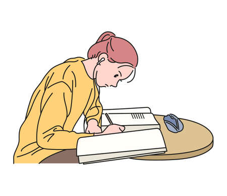A girl is studying with a book open. hand drawn style vector design illustrations.