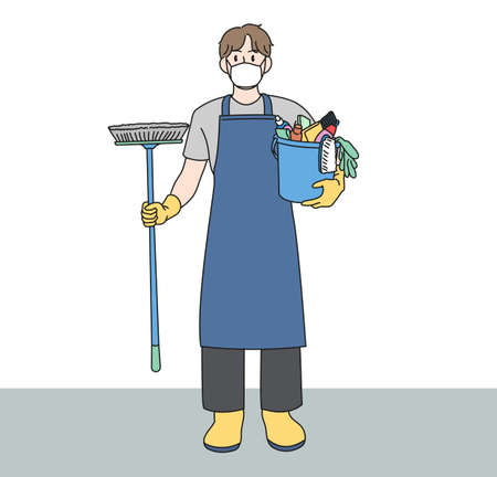 A man in an apron is holding a cleaning tool. hand drawn style vector design illustrations.