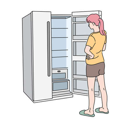 The back of a woman opening an empty refrigerator. hand drawn style vector design illustrations. 일러스트