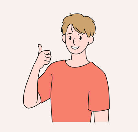 A man is raising his thumb. hand drawn style vector design illustrations.