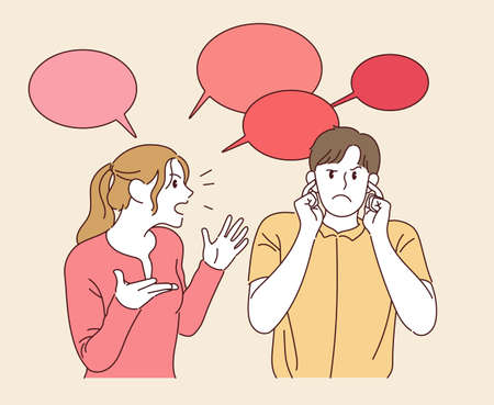 A woman is talking, and the man is covering her ears. hand drawn style vector design illustrations. 스톡 콘텐츠 - 167068053