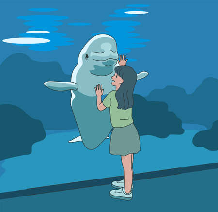 A girl greets a dolphin in the aquarium. hand drawn style vector design illustrations. 일러스트