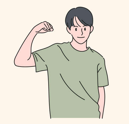 A man is showing strength by raising his arm. hand drawn style vector design illustrations.