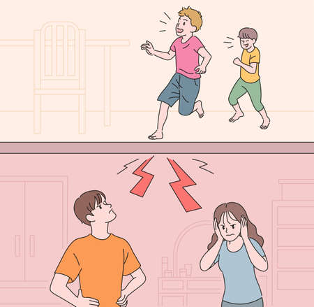 Apartment residents suffering from floor noise. hand drawn style vector design illustrations. 일러스트