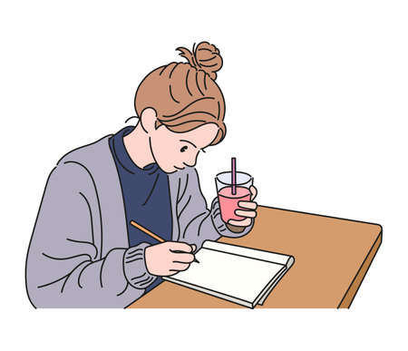A girl is holding a drink in one hand and taking notes with one hand. hand drawn style vector design illustrations. 일러스트