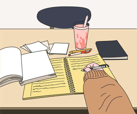 A hand taking notes. hand drawn style vector design illustrations.