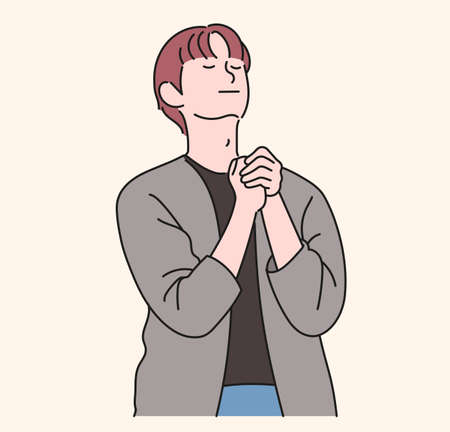 A man is praying with his hands together. hand drawn style vector design illustrations. 일러스트
