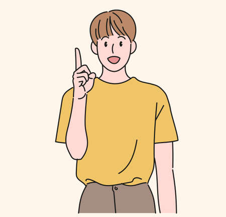 A boy is pointing his finger up and talking. hand drawn style vector design illustrations. 일러스트