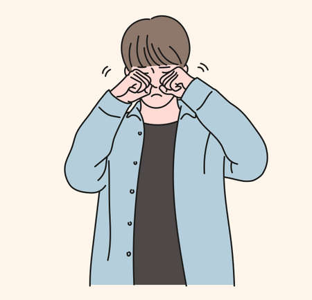 A boy is rubbing his eyes with both hands. hand drawn style vector design illustrations. 일러스트