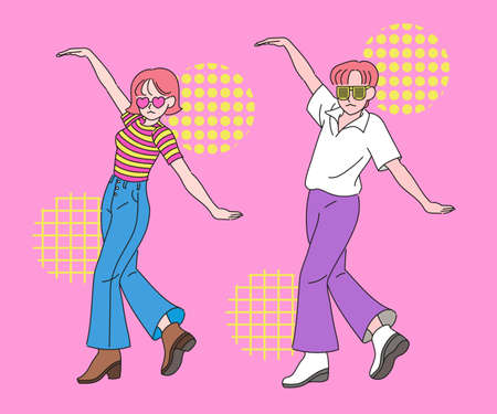 A funny couple is dancing in the same pose. hand drawn style vector design illustrations.
