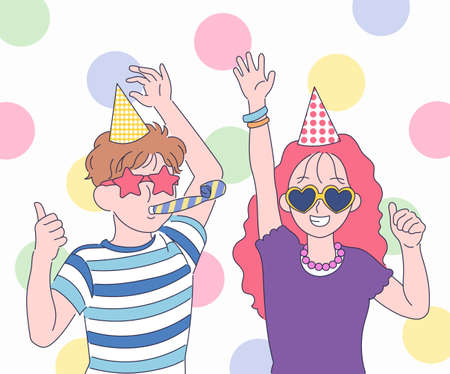 A cute couple is having a party wearing funny sunglasses. hand drawn style vector design illustrations.