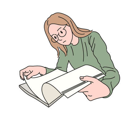 A woman wearing glasses is reading a book. hand drawn style vector design illustrations. 일러스트