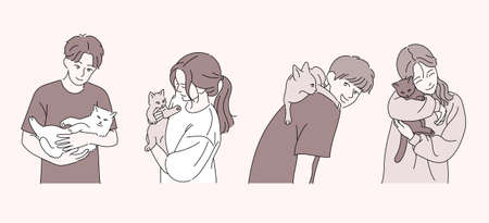 People are holding cute cats. hand drawn style vector design illustrations. 스톡 콘텐츠 - 167132962