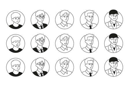 male face icons with various expressions and styles. hand drawn style vector design illustrations.
