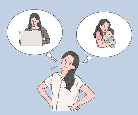 A woman is struggling during work and child-rearing. hand drawn style vector design illustrations. 스톡 콘텐츠 - 167132965