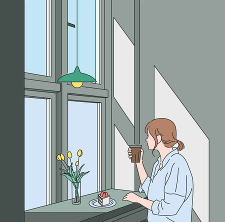 A woman is sitting by the window of a cafe and drinking coffee. hand drawn style vector design illustrations.
