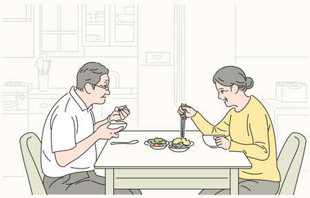 The old couple is eating tenderly. hand drawn style vector design illustrations.