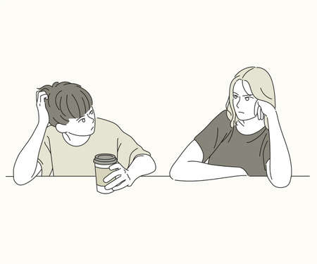 The couple is looking at each other dissatisfiedly. hand drawn style vector design illustrations.