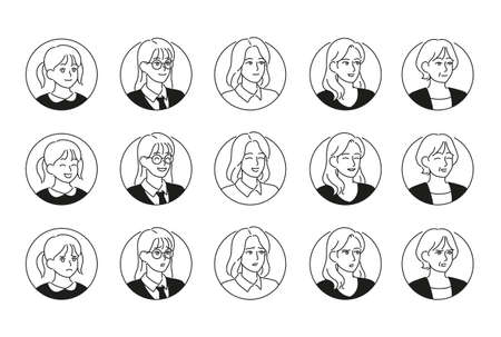 Female face icons with various expressions and styles. hand drawn style vector design illustrations. 일러스트