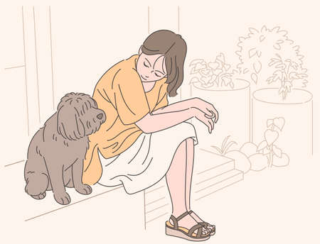 A girl is sitting affectionately in the yard with her dog. hand drawn style vector design illustrations. 일러스트