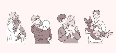 People are holding a small dog. hand drawn style vector design illustrations.