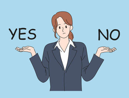 A woman in a suit raises both hands and makes a choice. hand drawn style vector design illustrations. 일러스트