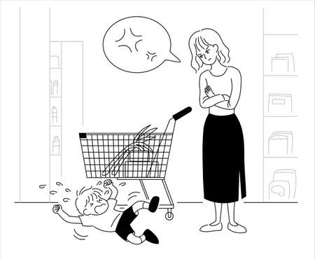 Angry mother with her child swarming by the shopping cart. hand drawn style vector design illustrations.