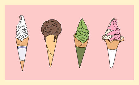 Cone ice cream menu of various flavors. hand drawn style vector design illustrations.