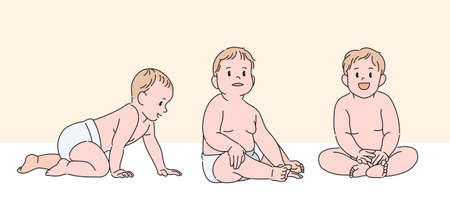 Cute baby character. hand drawn style vector design illustrations. 일러스트