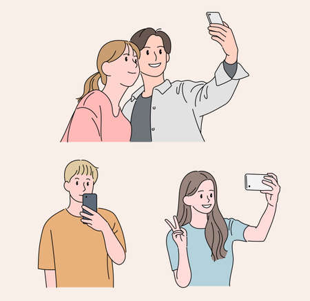 People taking pictures with their mobile phones. hand drawn style vector design illustrations.