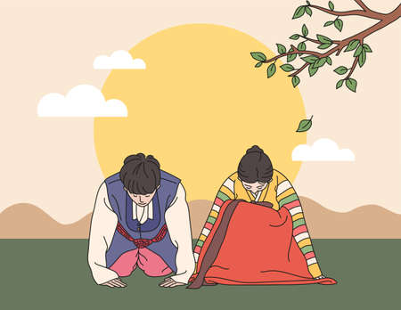 A couple in traditional Korean costumes are saying a traditional greeting. hand drawn style vector design illustrations.
