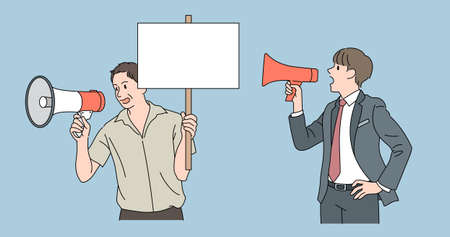 Men with loudspeakers are delivering messages. hand drawn style vector design illustrations.