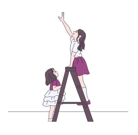 Two girls are on the ladder. hand drawn style vector design illustrations.